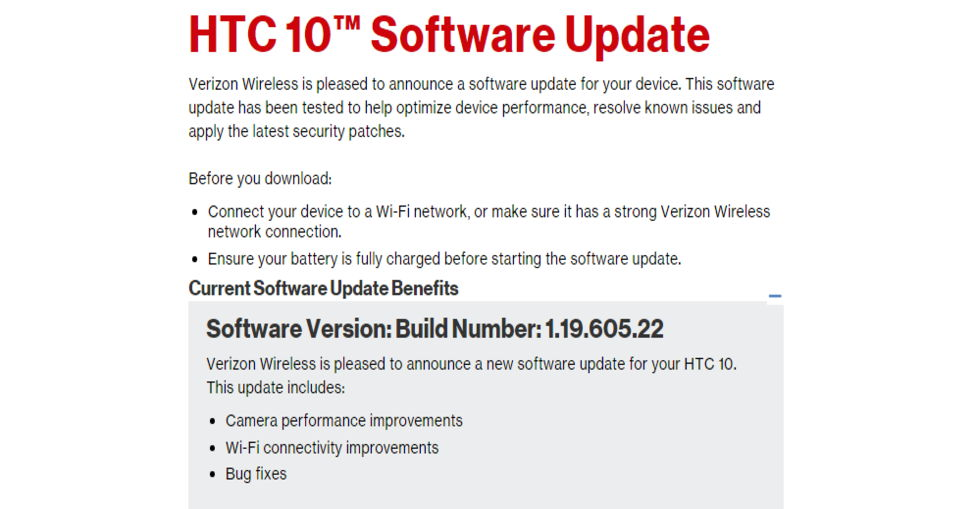 Download Verizon HTC 10 1.19.605.22 OTA and RUU Firmware Update Camera and Bug Fixes