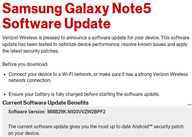 Download Verizon Note5 Update