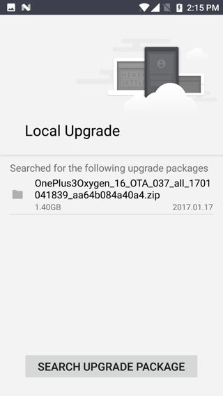 how to update oneplus via local upgrade option