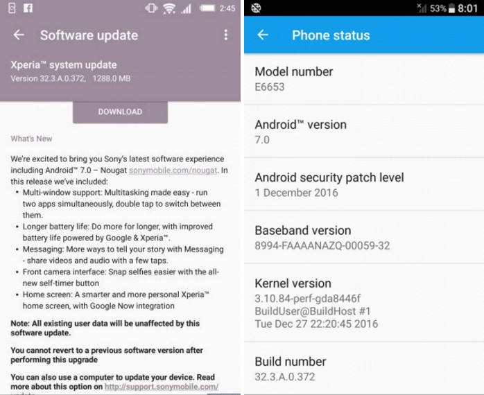 downlaod Android 7.0 Nougat for Xperia Z5 family 32.3.A.0.372
