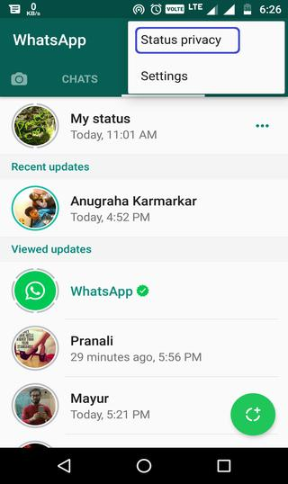 how to set whatsapp status privacy