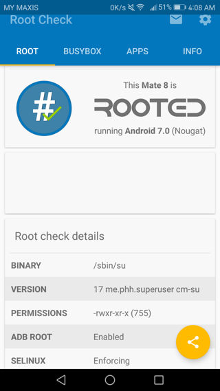 Root Huawei Mate 8 via phh superuser check