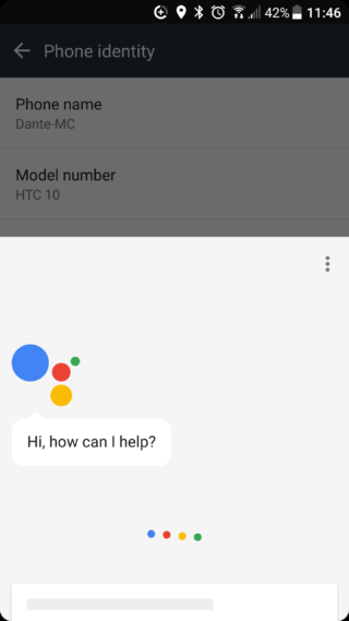 google assistant running on HTC 10
