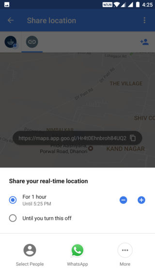 select time for Google Maps real-time location sharing
