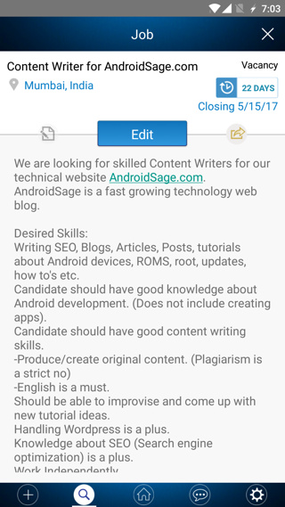Androidsage hiring through workapp