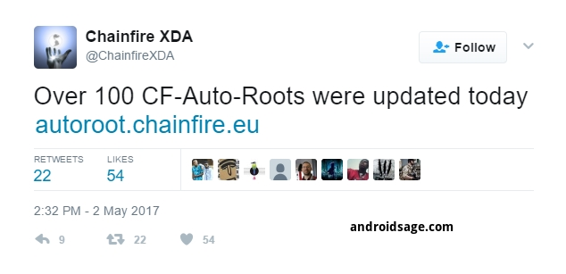 Chainfire XDA on Twitter_ _Over 100 CF-Auto-Roots were updated today androidsage.com