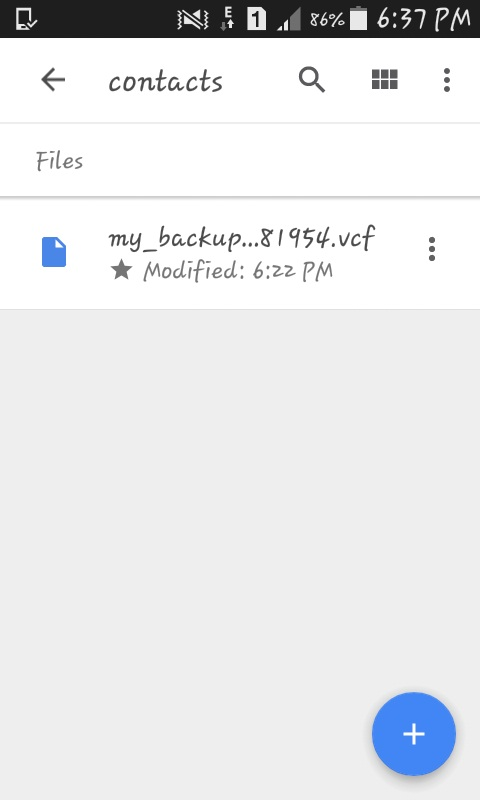 backup file .vcf format