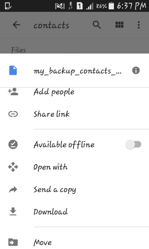 download your backup file from Google Drive