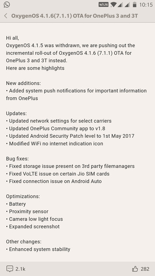 OxygenOS 4.1.6(7.1.1) OTA for OnePlus 3 and 3T Screenshot