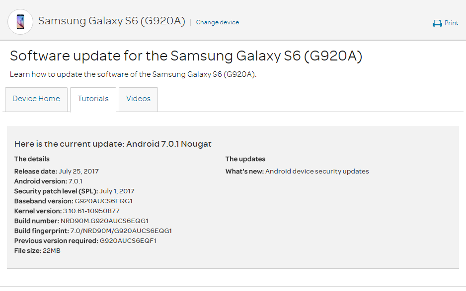 July 2017 security update for Galaxy S6 and S6 Edge