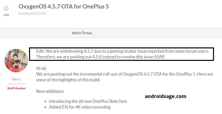 OxygenOS 4.5.8 OTA for OnePlus 5