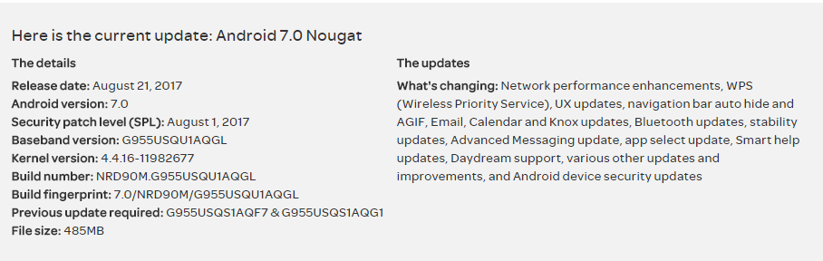 AT&T August 2017 Security Update Changelog for Galaxy S8
