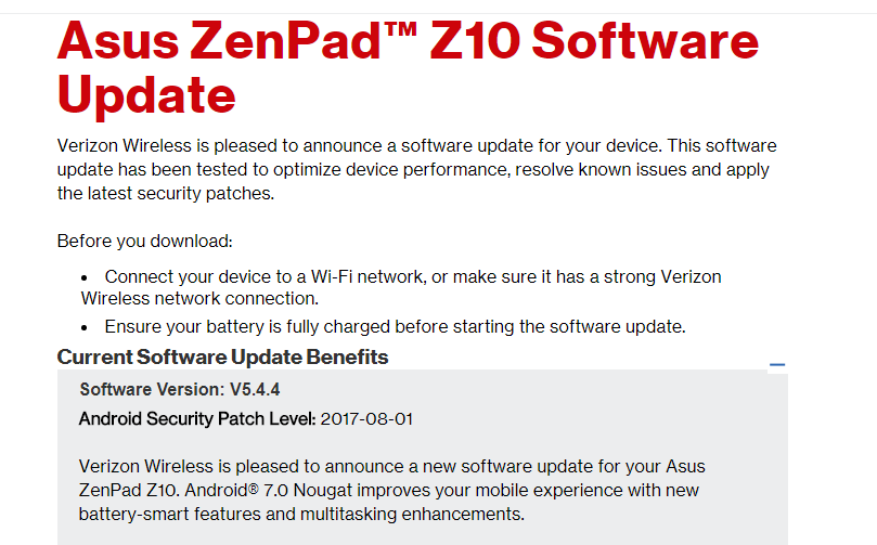 7.0 Nougat Update for Asus Zenpad Z-10