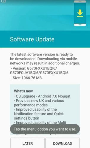 Android Nougat 7.0 Update for Galaxy J5 Prime