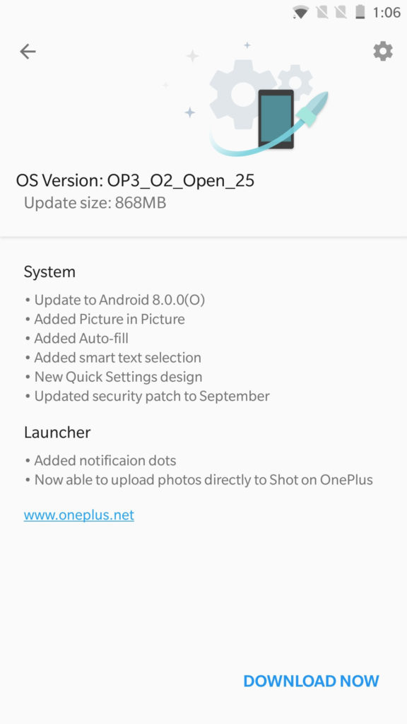 OnePlus 3-3T Android Oreo with Open Beta 25 and Beta 16 screenshot