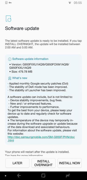 Samsung Galaxy S8 (Plus) firmware build G950FXXU1AQI9
