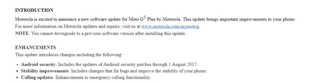 Moto G5 Plus August Security patch Firmware Update [NPN25 137-83]
