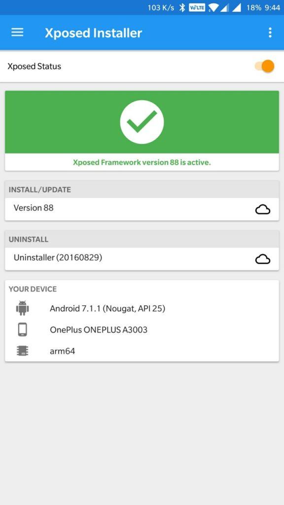 Install official Xposed v88 for Nougat SDK 24/25 by Rovo89
