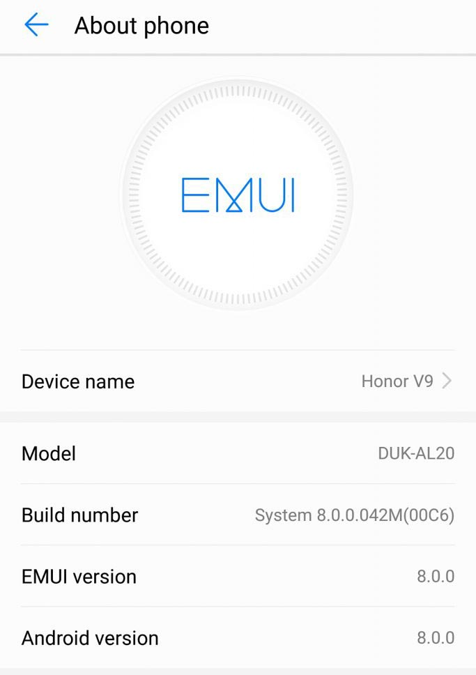 Android 8.0 Oreo for Honor V9