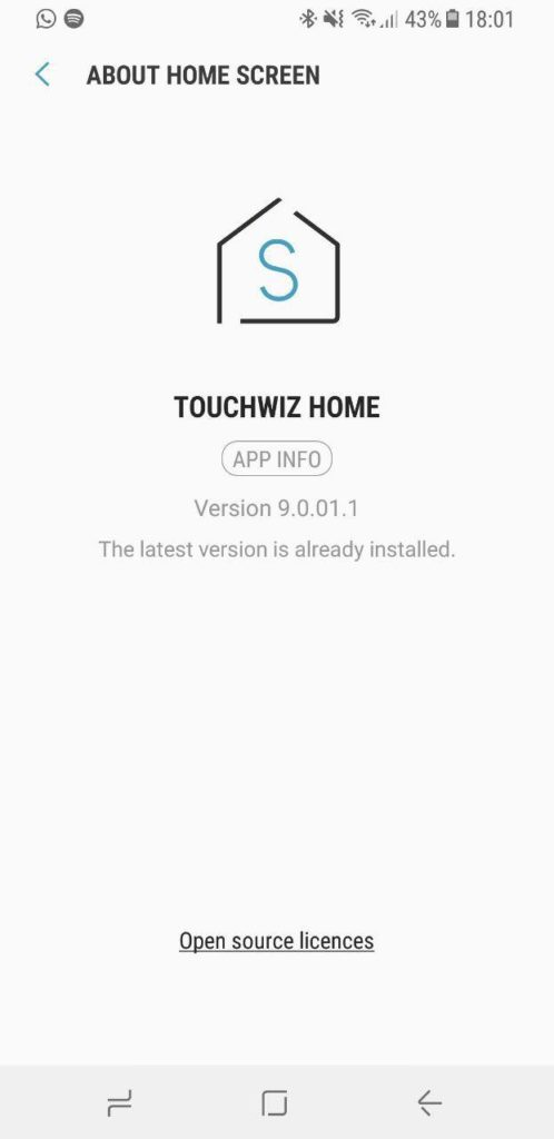 TouchWiz Home 9.0 app from Samsung Experience 9.0 Oreo Beta