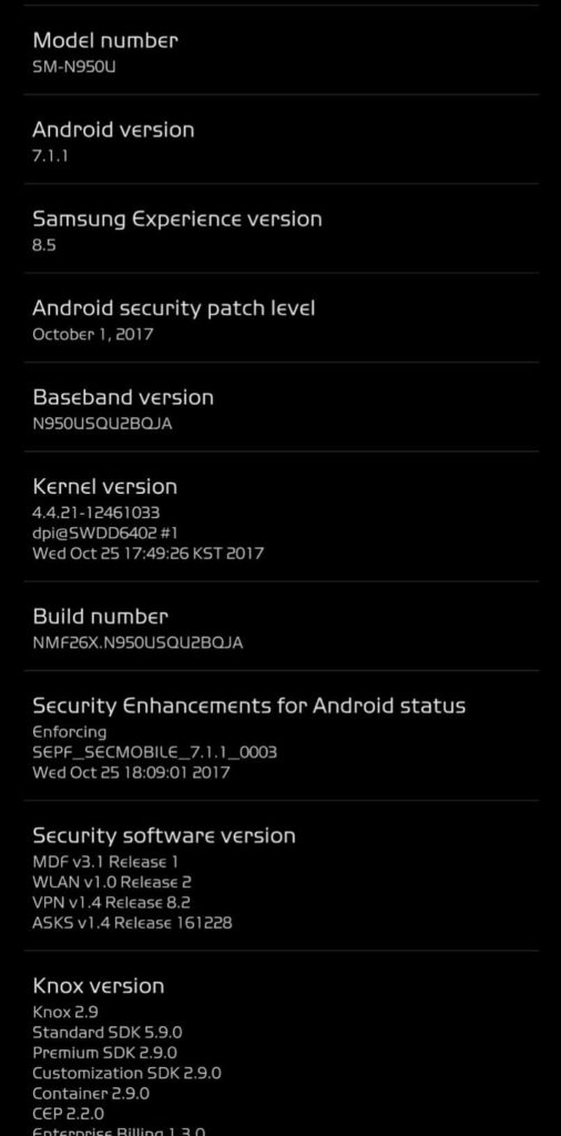 October security patch for AT&T Galaxy Note 8