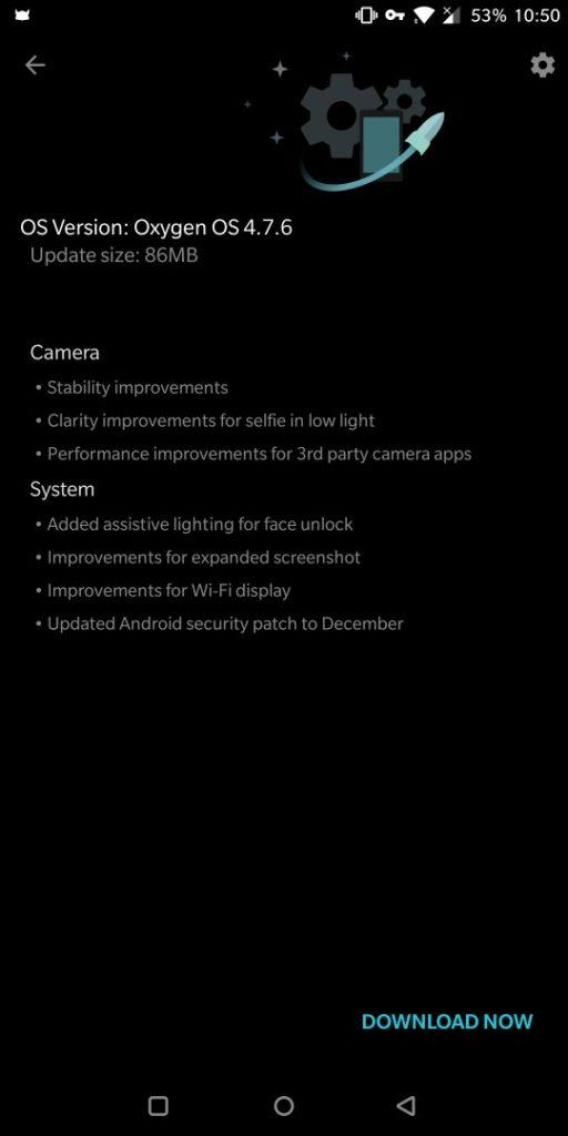 OnePlus 5T OxygenOS 4.7.6 OTA downloading