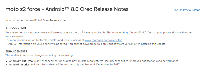 Android 8.0 Oreo for Moto Z/Z2 Force