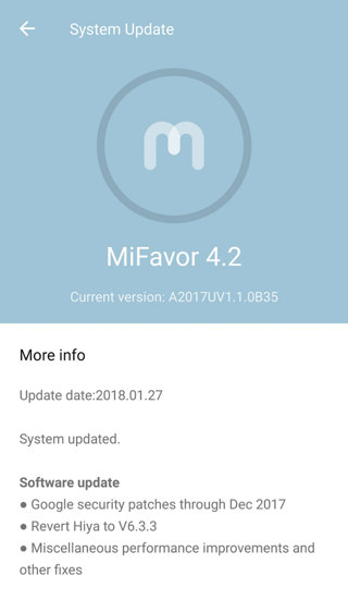 Axon 7 A2017UV.1.0B35 (B35) firmware update download screenshot