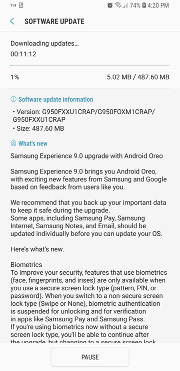Samsung Galaxy S8+ G950FXXU1CRAP OTA update download