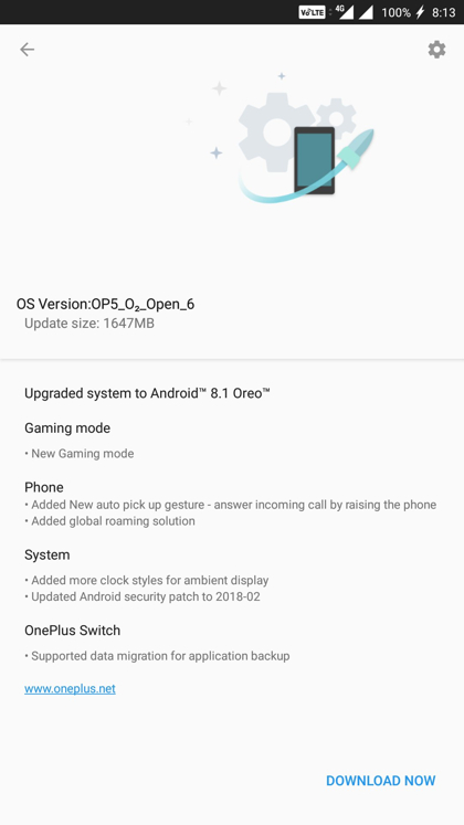 Download OnePlus 5 Android 8.1 Oreo OTA update