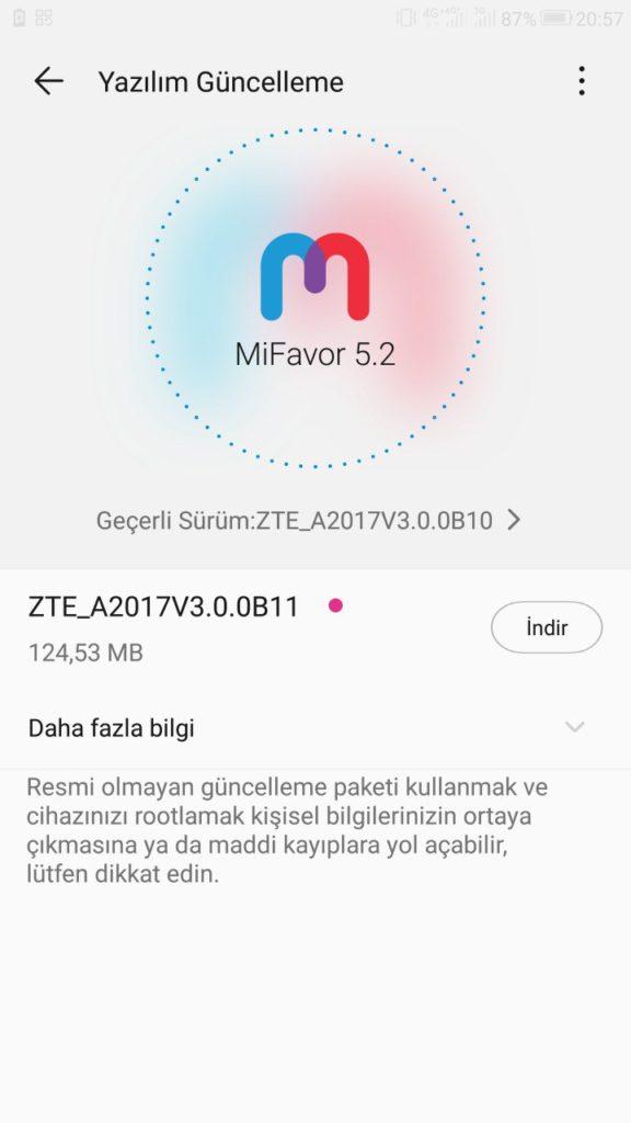 ZTE Azon 7 Android 8.0 Oreo Mi Favor 5.2 ZTE_A2017V3.0.0B11 update