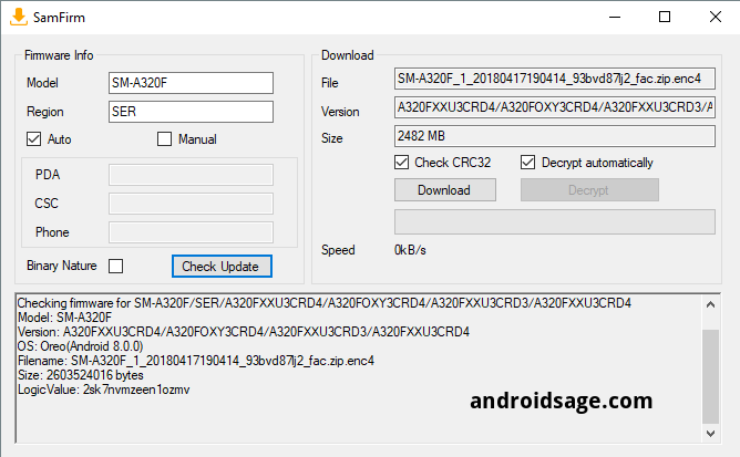 Downloading full Oreo Odin firmware for Samsung Galaxy A3 SamFirm