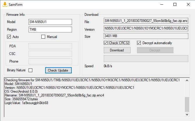 Samsung Galaxy Note 8 USA Snapdragon unlocked SM-N950U1 N950U1UEU3CRC1 SamFirm downloads