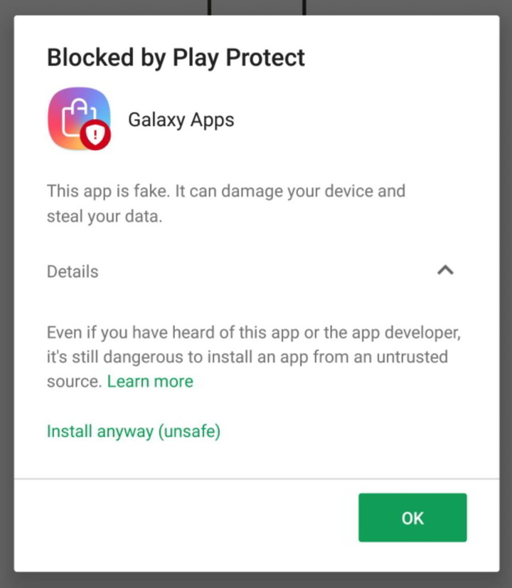 Google Play Protect is blocking Galaxy App Store