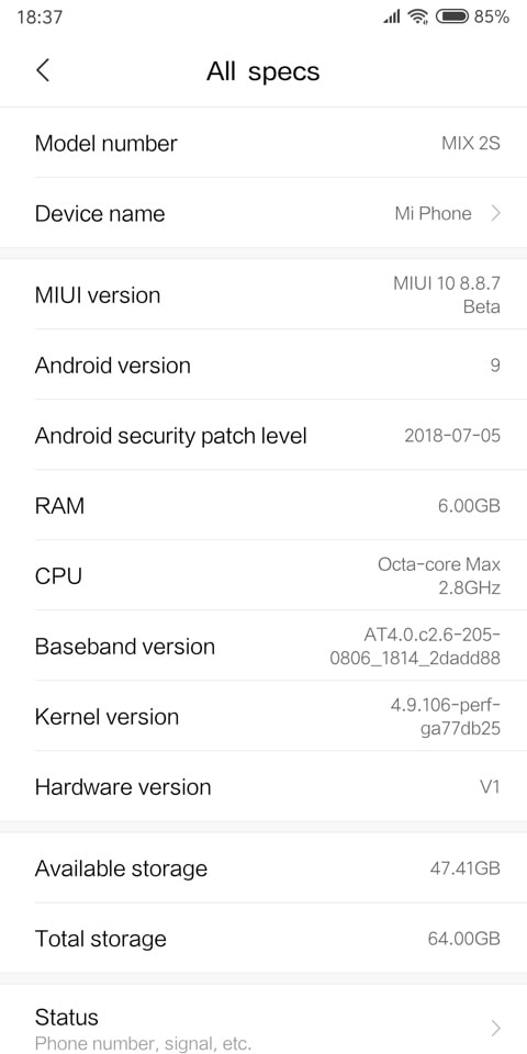 Download Xiaomi Mi Mix 2S Android 9 Pie ROM based on MIUI 10 screenshot