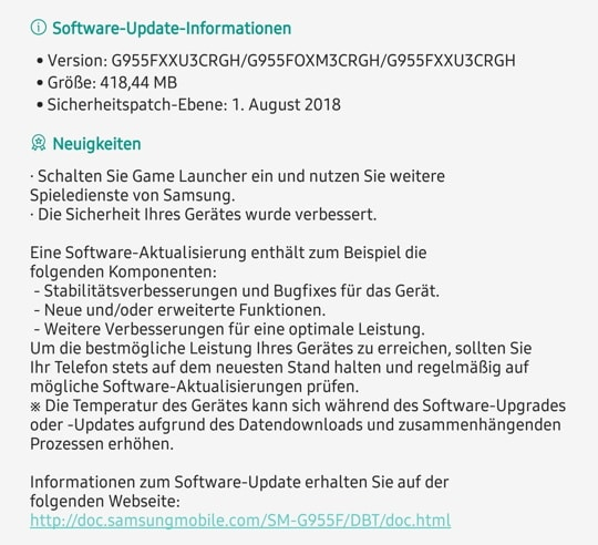 Samsung Galaxy S8+ August Security Update released in Germany (unlocked)