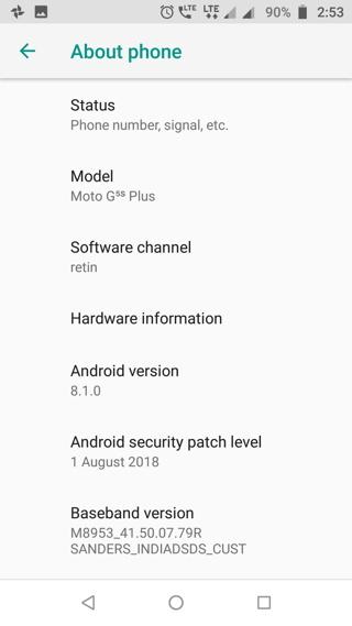 Moto G5S (Plus) Android 8.1 Oreo Update Screenshot