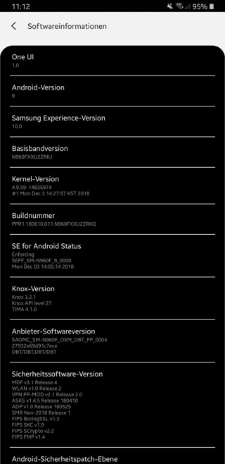 Note 9 Android 9 Pie One UI Beta Screenshot Settings
