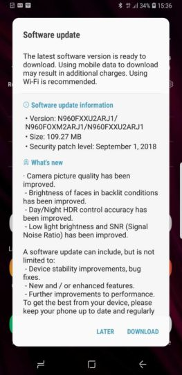 Samsung Galaxy Note 9 camera update