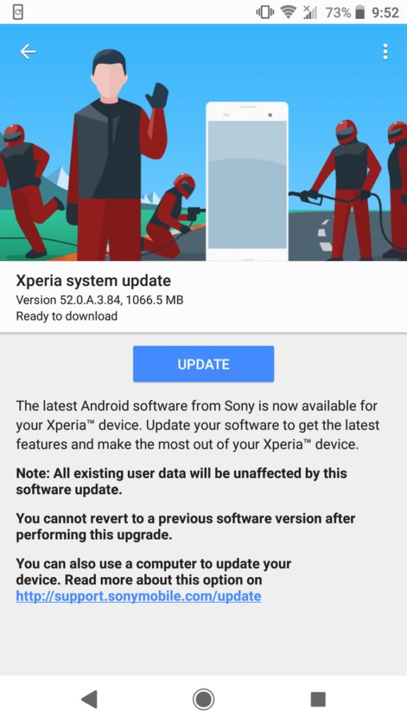 Xperia XZ2 Premium Android 9 Pie (52.0.A.3.84) OTA update