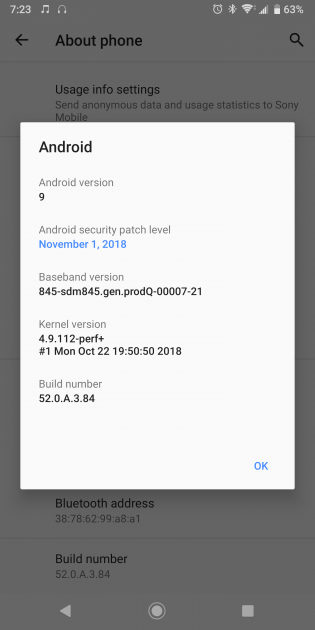 Xperia XZ3 Android 9 Pie (52.0.A.3.84) OTA update