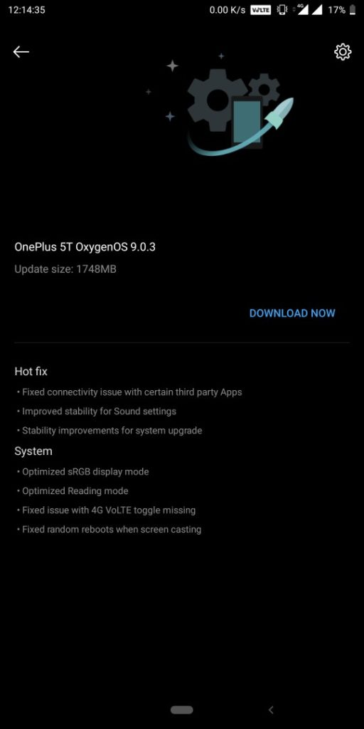 Download Oxygen OS 9.0.3 for OnePlus 5 and 5T