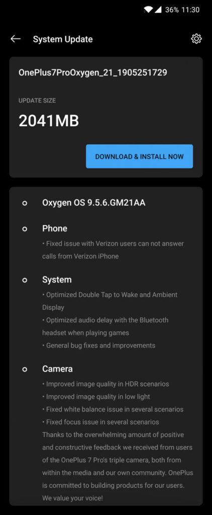 Download Oxygen OS 9 5 6 for OnePlus 7 Pro US variants Verizon and T