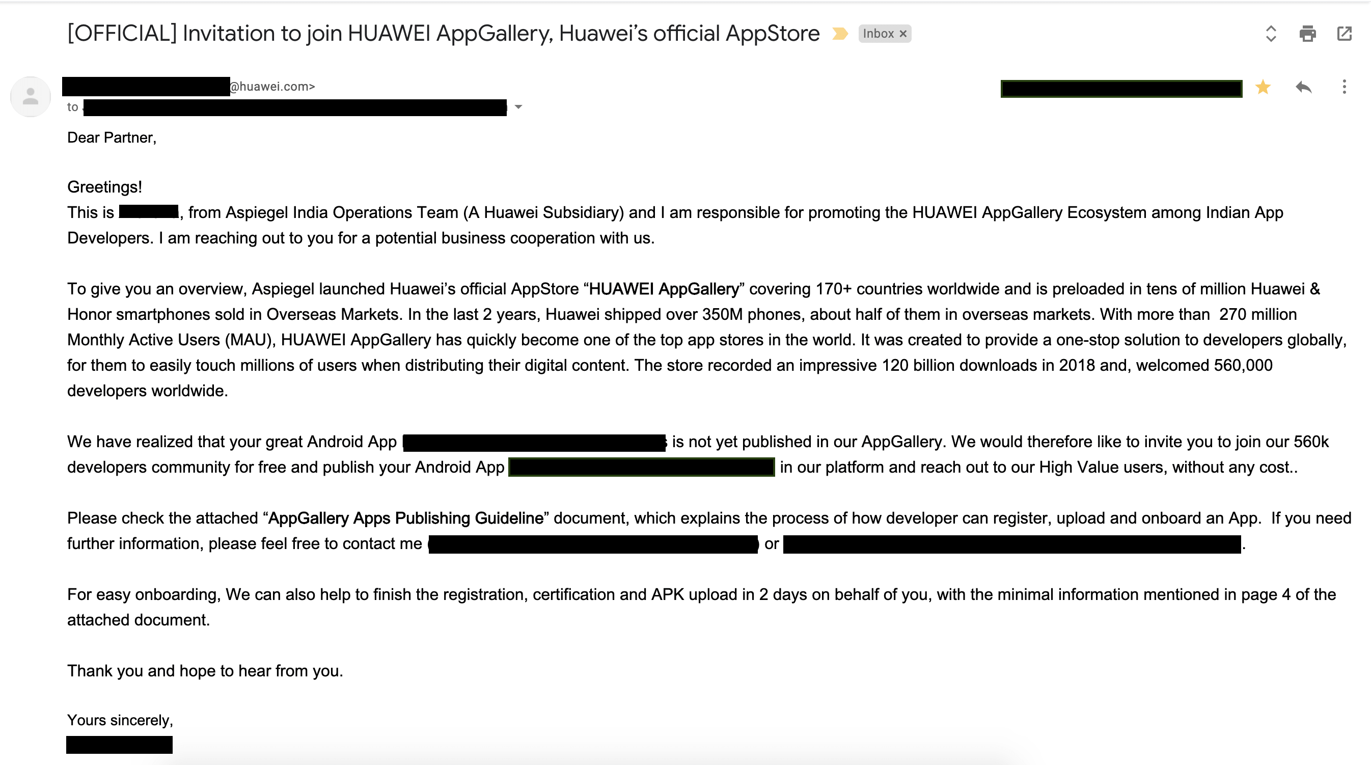 Huawei sending out invitations to App Developers to publish