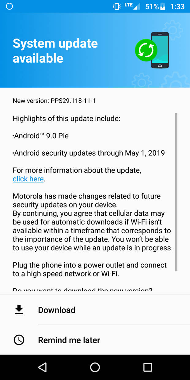 Moto G6, G6 Plus, and G6 Play receive Android 9 Pie OTA update in
