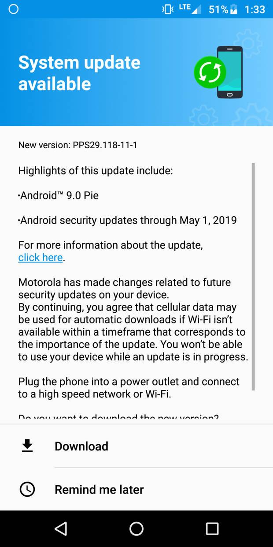 Moto G6 android 9 Pie OTA updates