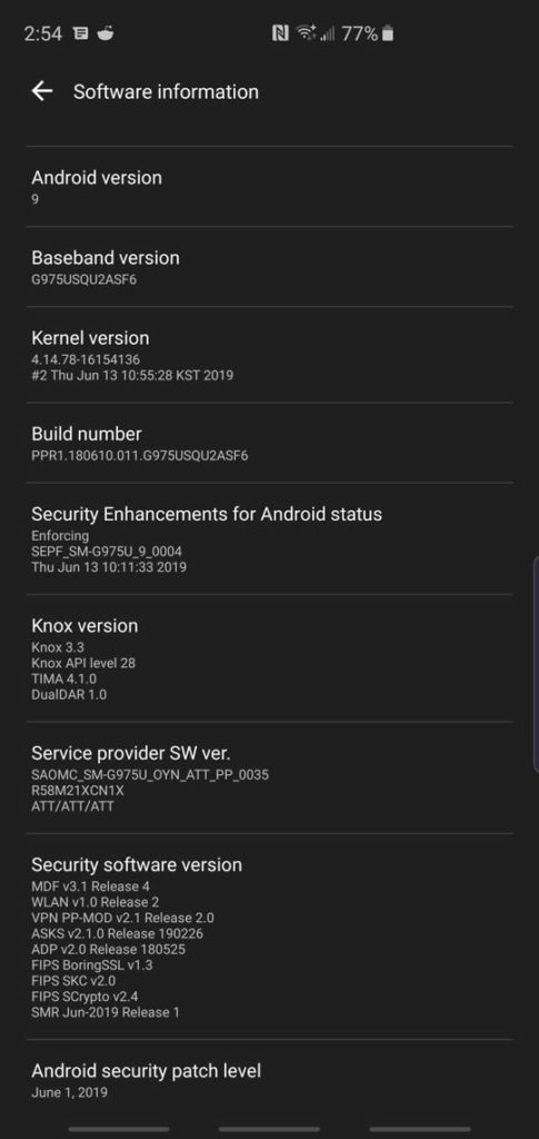 Samsung June 2019 Security Patch Camera Night Mode for Snapdragon USA