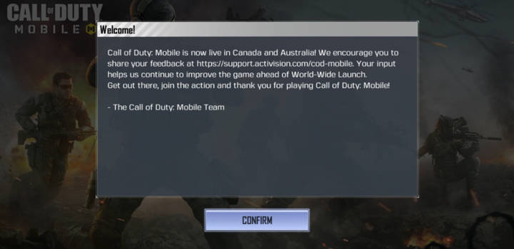 call of duty mobile 1.0.4 live in canada and australia