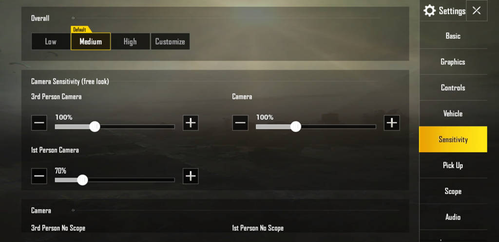 PUBG mobile sensitivity settings