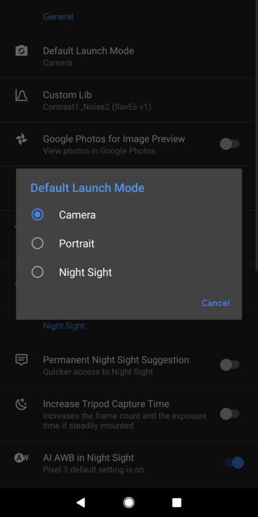 gcam default launch mode nightsight